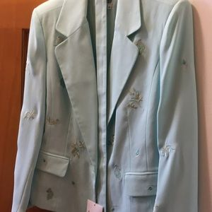 Aqua jacket with embroidery and belt